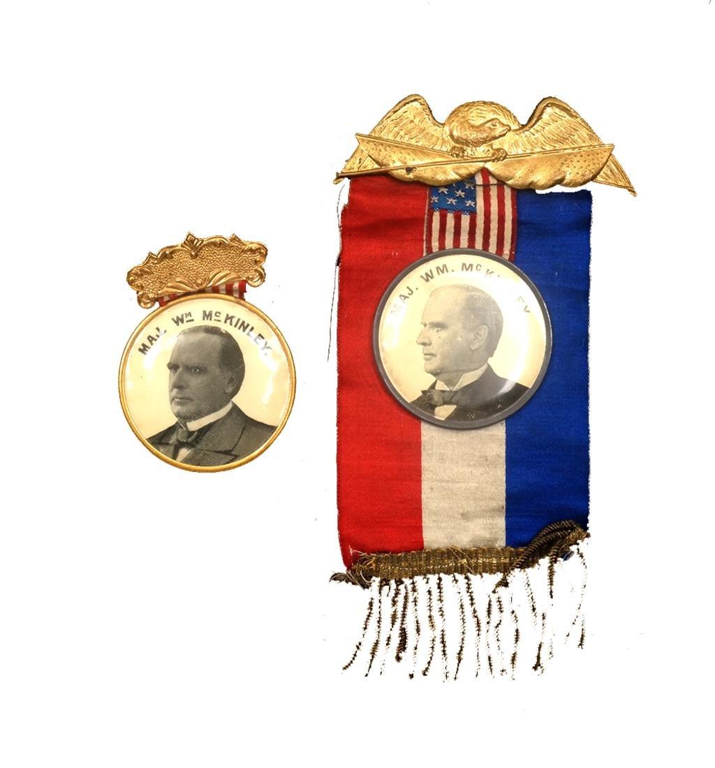 WM. MCKINLEY TWO 1896 CAMPAIGN CELLULOID PORTRAIT