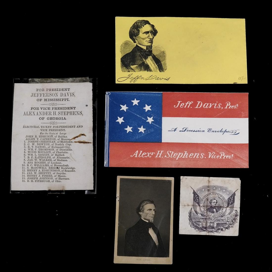 JEFFERSON DAVIS - 1861 BALLOT, POSTAL COVERS, & OTHERS