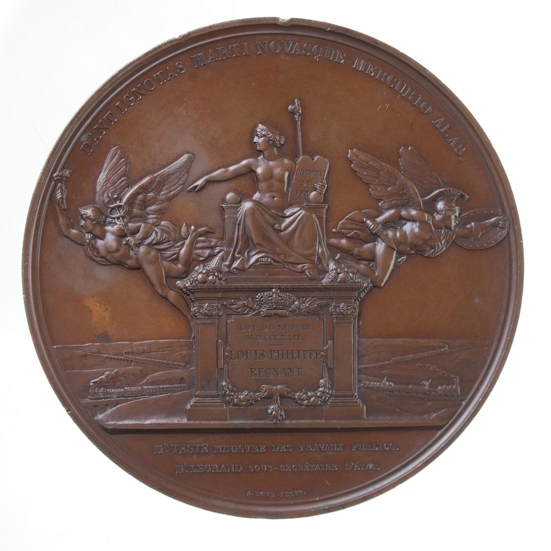 FRANCE. GRAND RAILWAY LINES OF FRANCE MEDALLION, 1842.