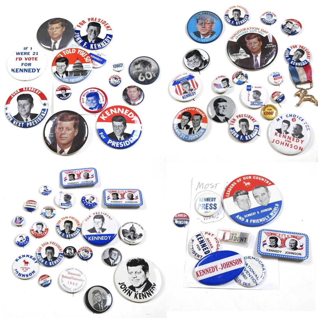 LARGE GROUP OF 1960 KENNEDY & JOHNSON CAMPAIGN BUTTONS