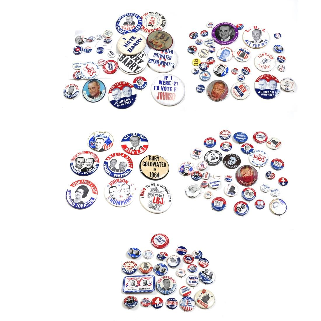 LARGE GROUP OF LYNDON B. JOHNSON 1964 CAMPAIGN BUTTONS