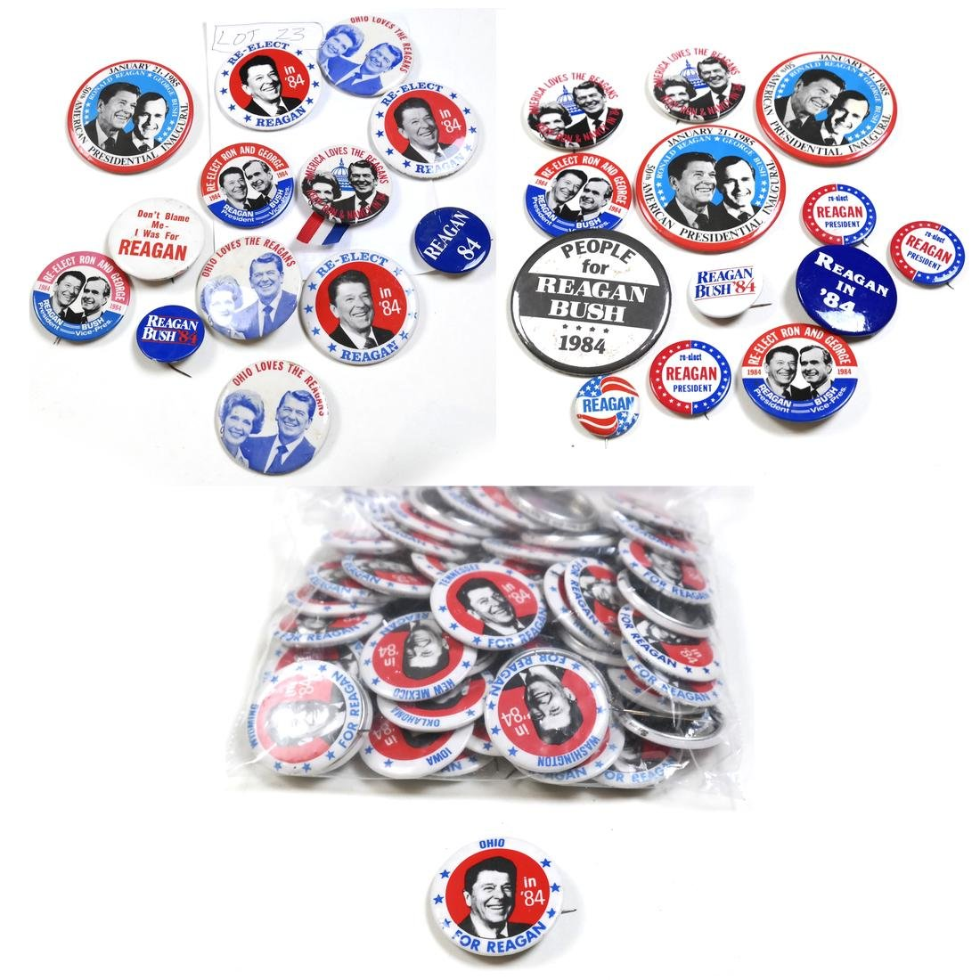 LARGE GROUP OF R. REAGAN 1984 BUTTONS