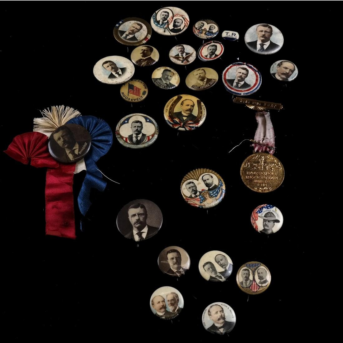 GROUP OF T. ROOSEVELT & A. PARKER 1904 CAMPAIGN BUTTONS