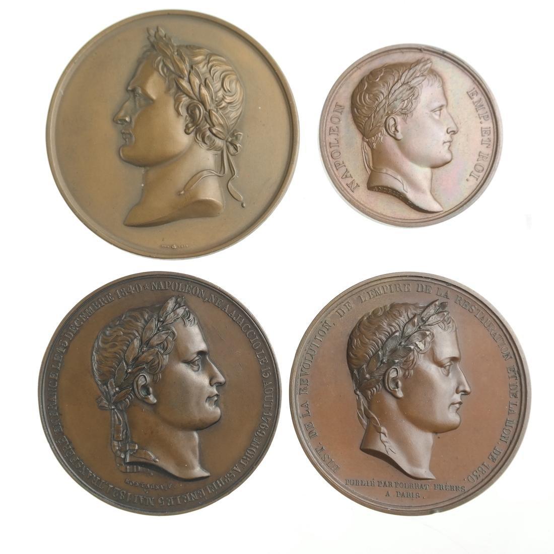 FRANCE. QUARTET OF NAPOLEONIC BRONZE MEDALS, 1804-1914.