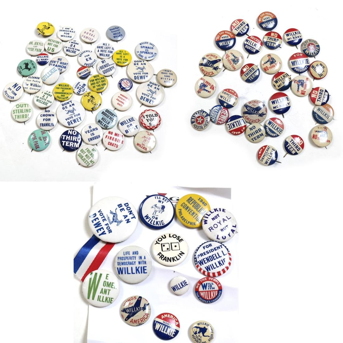 LARGE GROUP OF W. WILLKIE 1940 CAMPAIGN BUTTONS