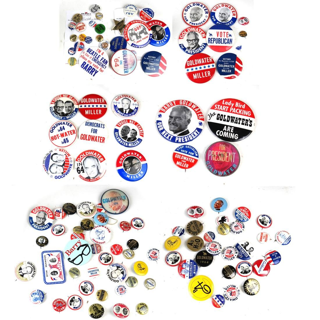LARGE GROUP OF BARRY GOLDWATER 1964 CAMPAIGN BUTTTONS