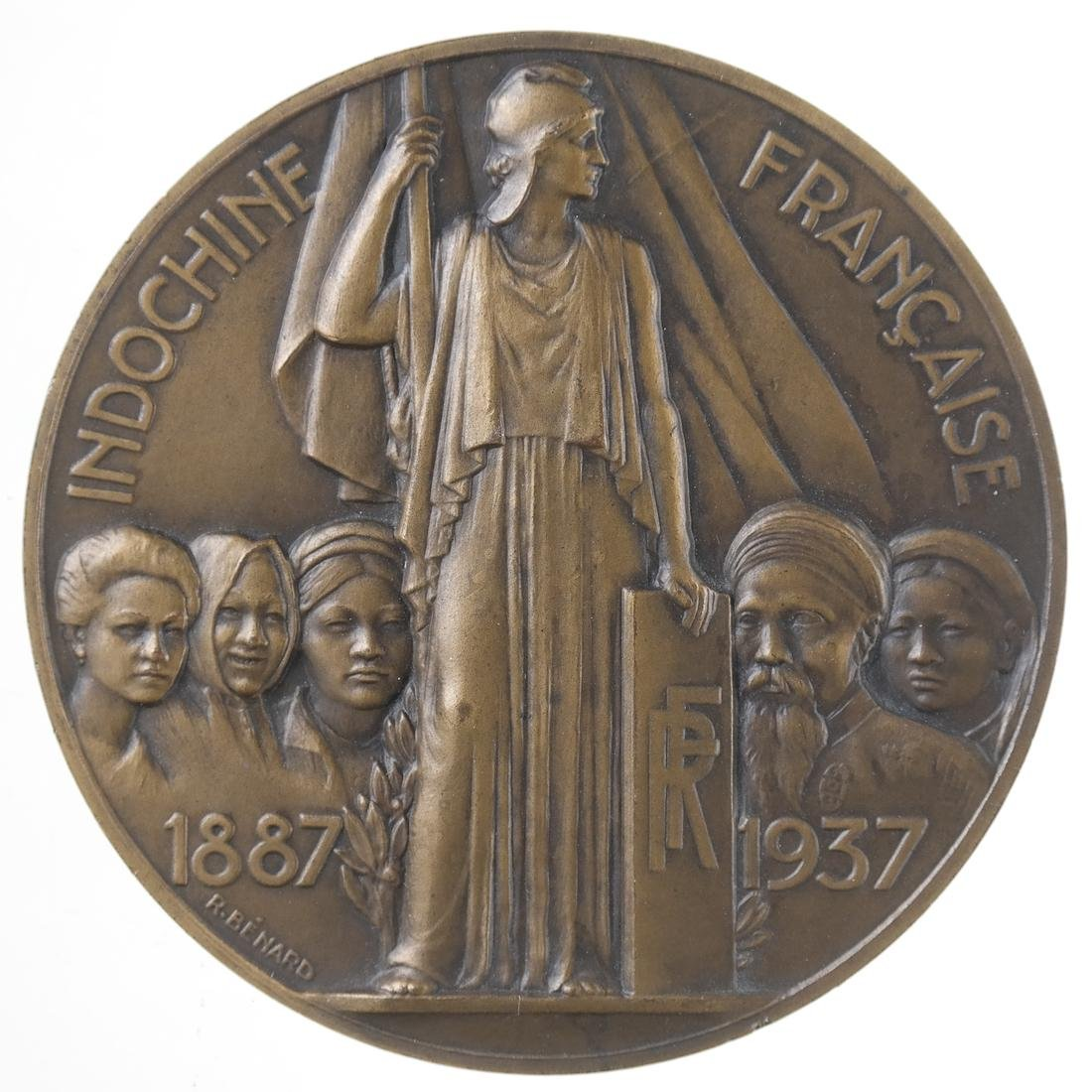 FRANCE. INDOCHINA UNION 50TH ANNIVERSARY MEDAL, 1937.