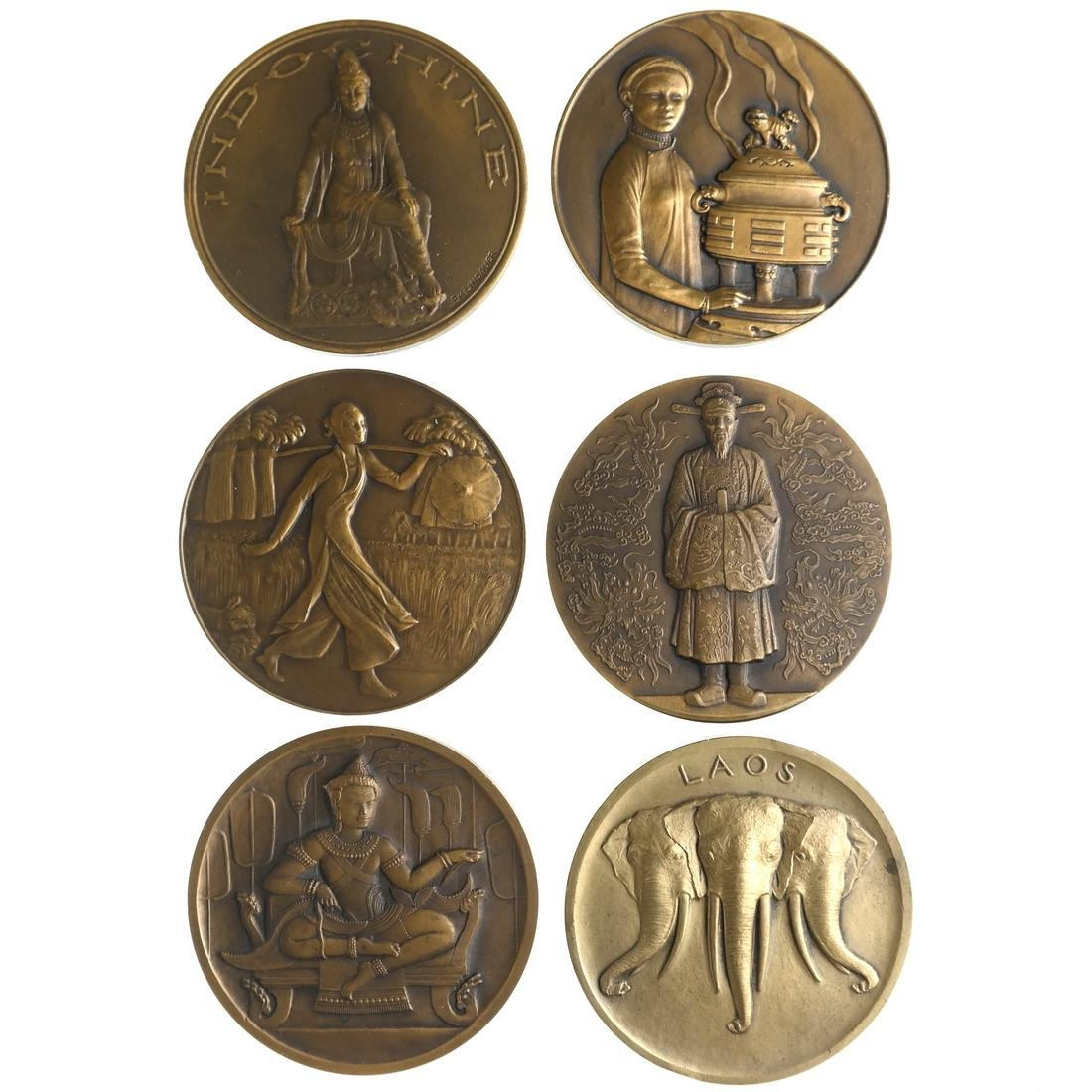SET OF 6 INDO-CHINA REGION MEDALS, CA. 1930.
