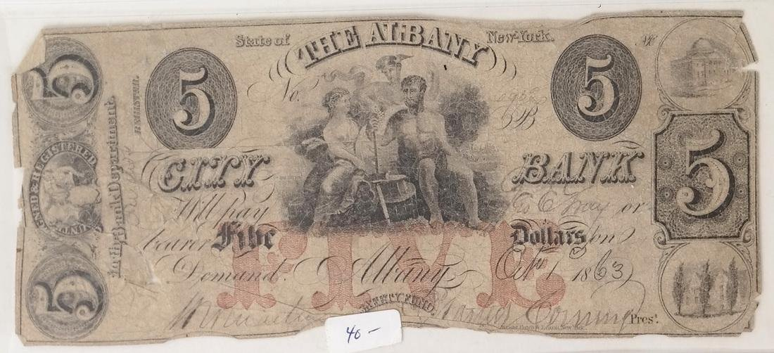 ALBANY CITY BANK 1863 $5 OBSOLETE NOTES