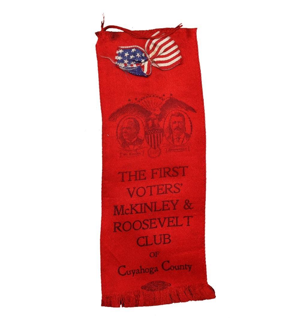WM. MCKINLEY & T. ROOSEVELT 1900 RED JUGATE RIBBON