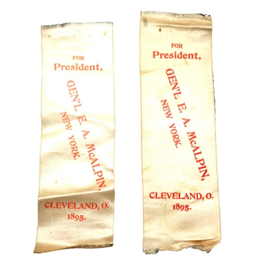 EDWIN A. MCALPIN 1896 PRESIDENTIAL CAMPAIGN RIBBONS