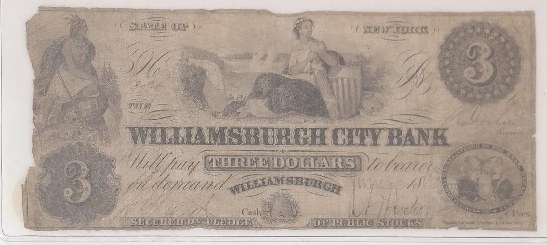 WILLIAMSBURGH CITY BANK $3 OBSOLETE NOTE