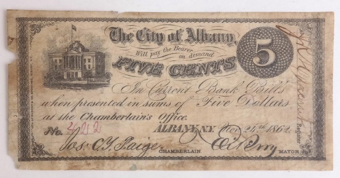 THE CITY OF ALBANY 1862 5¢ SCRIP NOTE