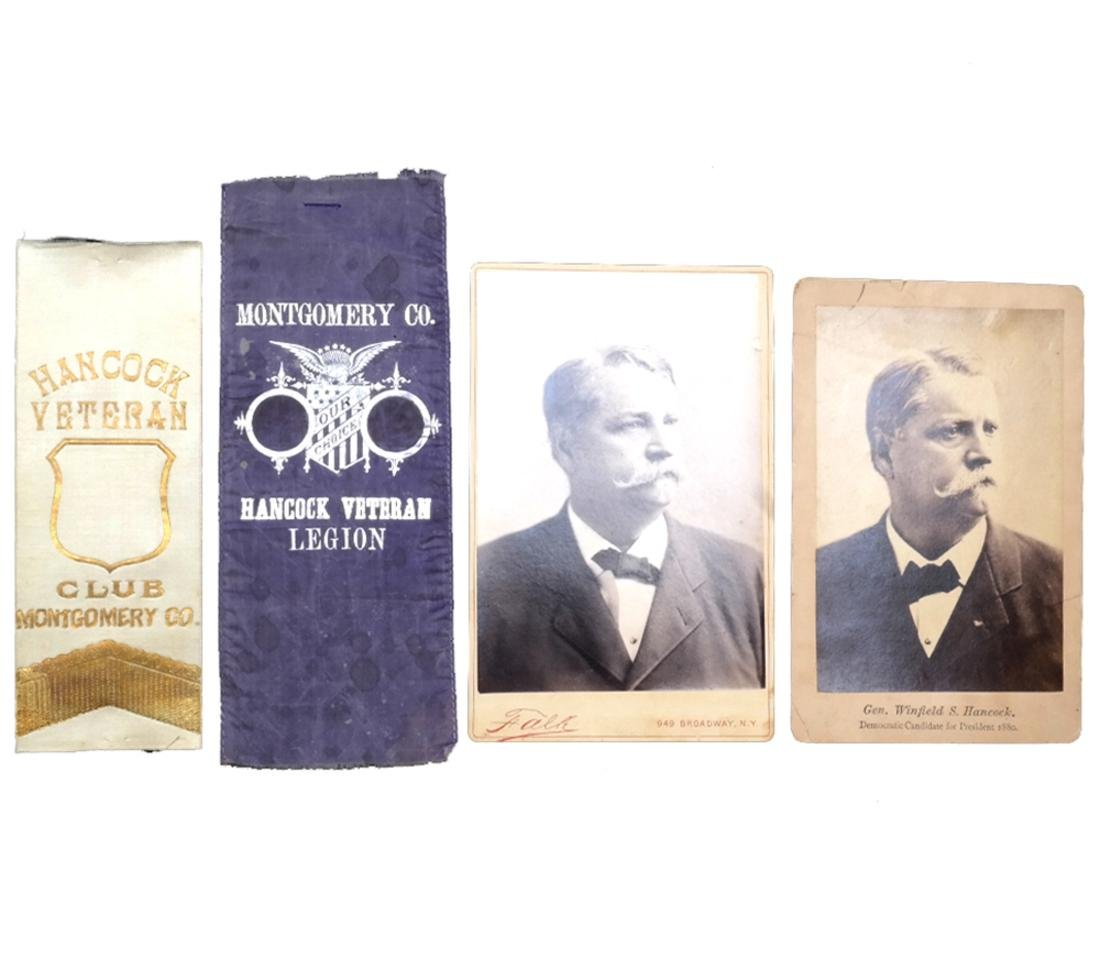 WINFIELD S. HANCOCK 1880 CAMPAIGN RIBBONS AND CAB. CARD
