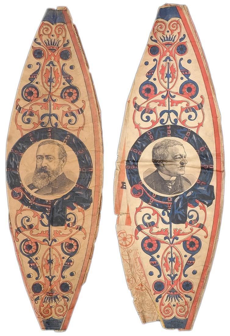 B. HARRISON & L.P. MORTON TWO 1888 PAPER LANTERNS