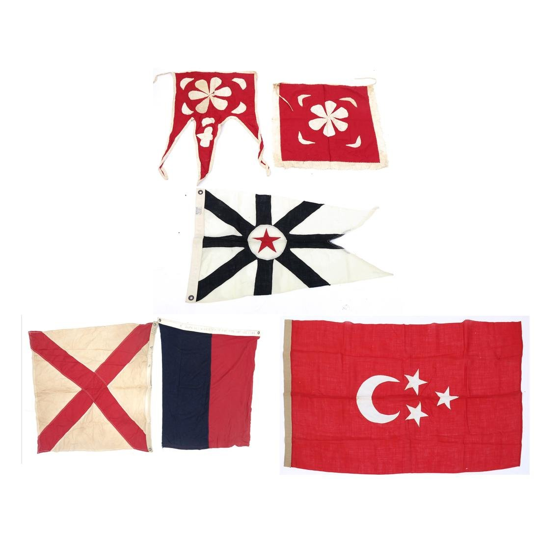 SIX ASSORTED BANNERS & FLAGS