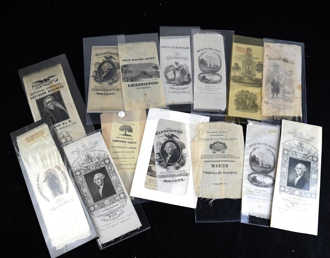 GROUP OF 15 TEMPERANCE RIBBONS
