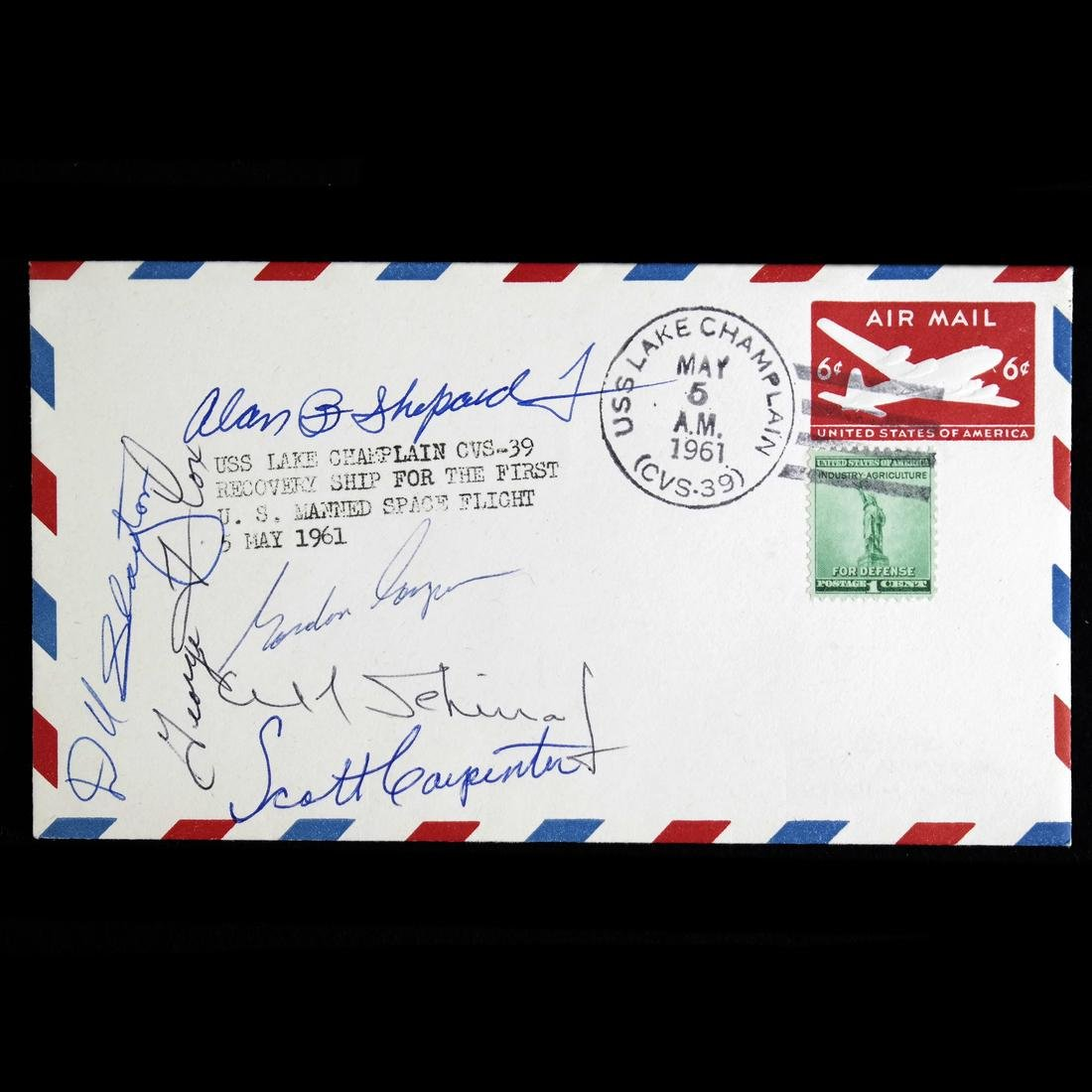 1961 FREEDOM 7 POSTAL COVER SIGNED BY EARLY ASTRONAUTS