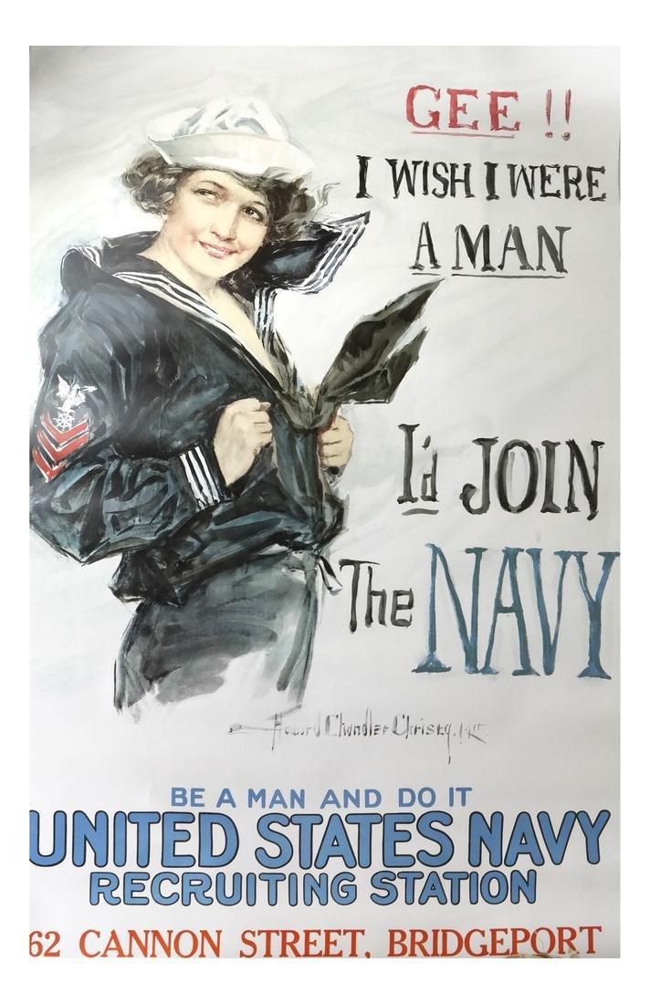 "WORLD WAR I ""I WISH I WERE A MAN"" RECRUITMENT POSTER"