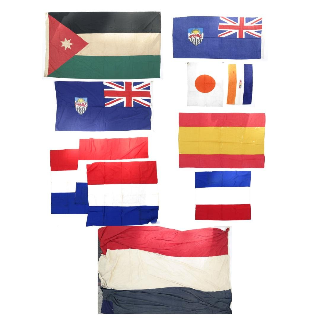 14 INTERNATIONAL FLAGS - EUROPEAN AND AFRICAN
