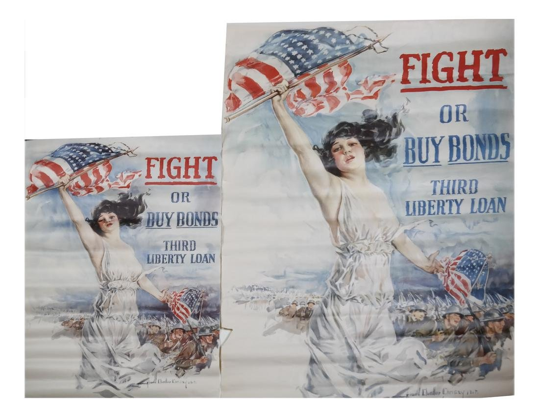 """WORLD WAR I """"FIGHT OR BUY BONDS"""" POSTERS"""