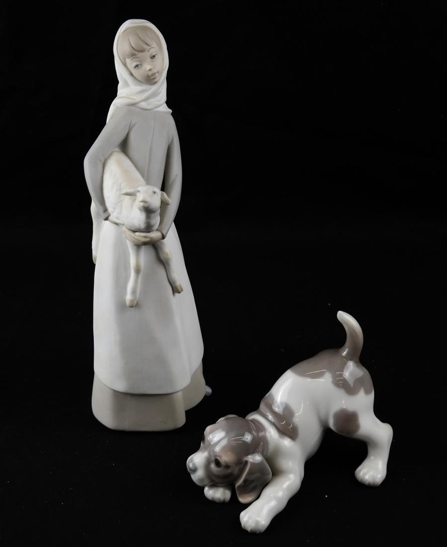 Two Lladro Sculptures - Dog and Woman