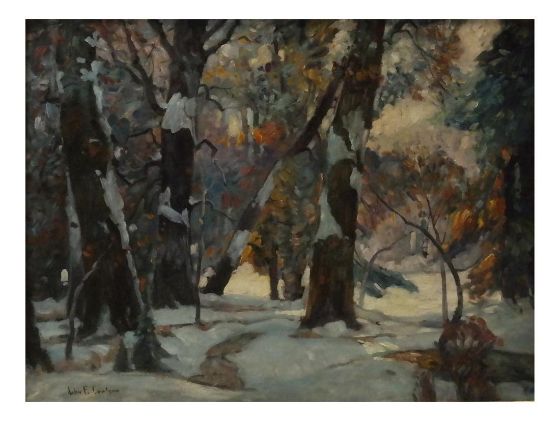"""John F. Carlson, """"Winter's Glow"""" - Oil on Board"""