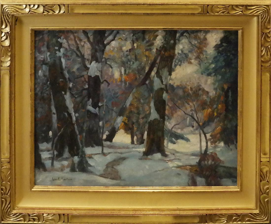 "John F. Carlson, ""Winter's Glow"" - Oil on Board - 2"