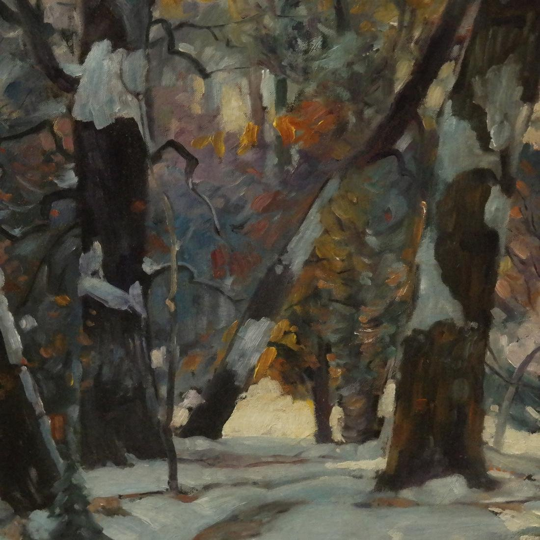 "John F. Carlson, ""Winter's Glow"" - Oil on Board - 4"