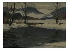 """Arthur J.E. Powell """"December Snow"""" - Oil on Canvas"""