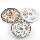 Two Porcelain Dishes and an Enamel Bowl