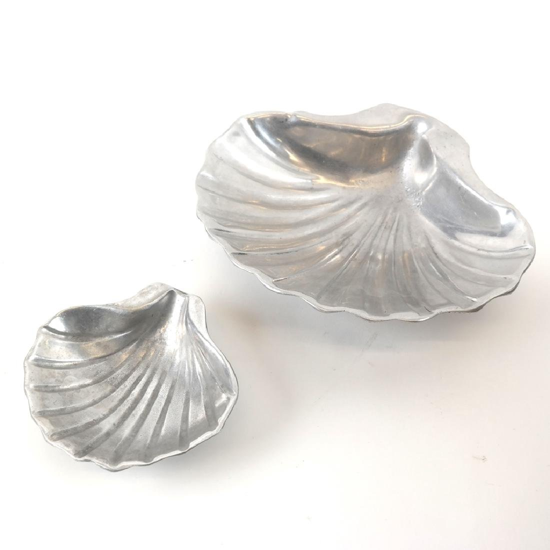 Set of 2 Aluminum Shell Dishes, Attrib. to Arthur Court