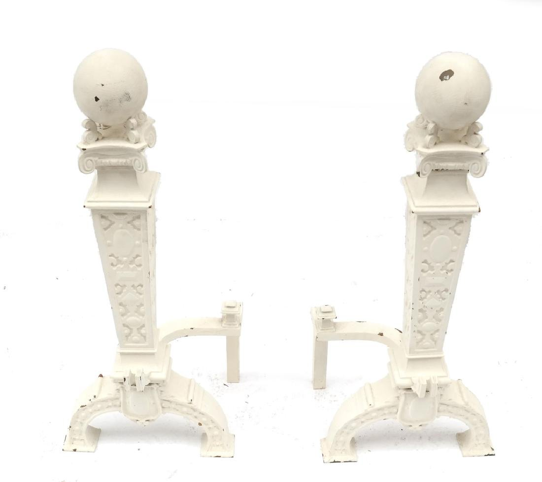 Pair of White Painted Cannonball Chenets