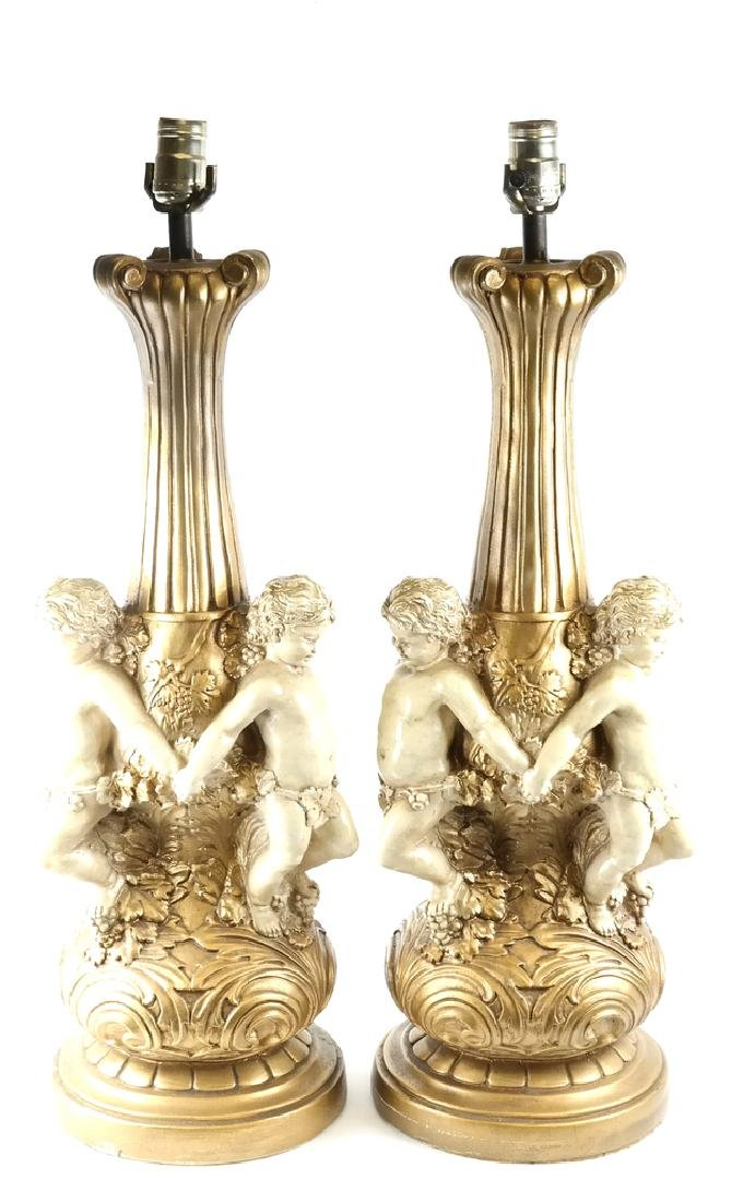 Pair of Composition Cherub-Form Lamps