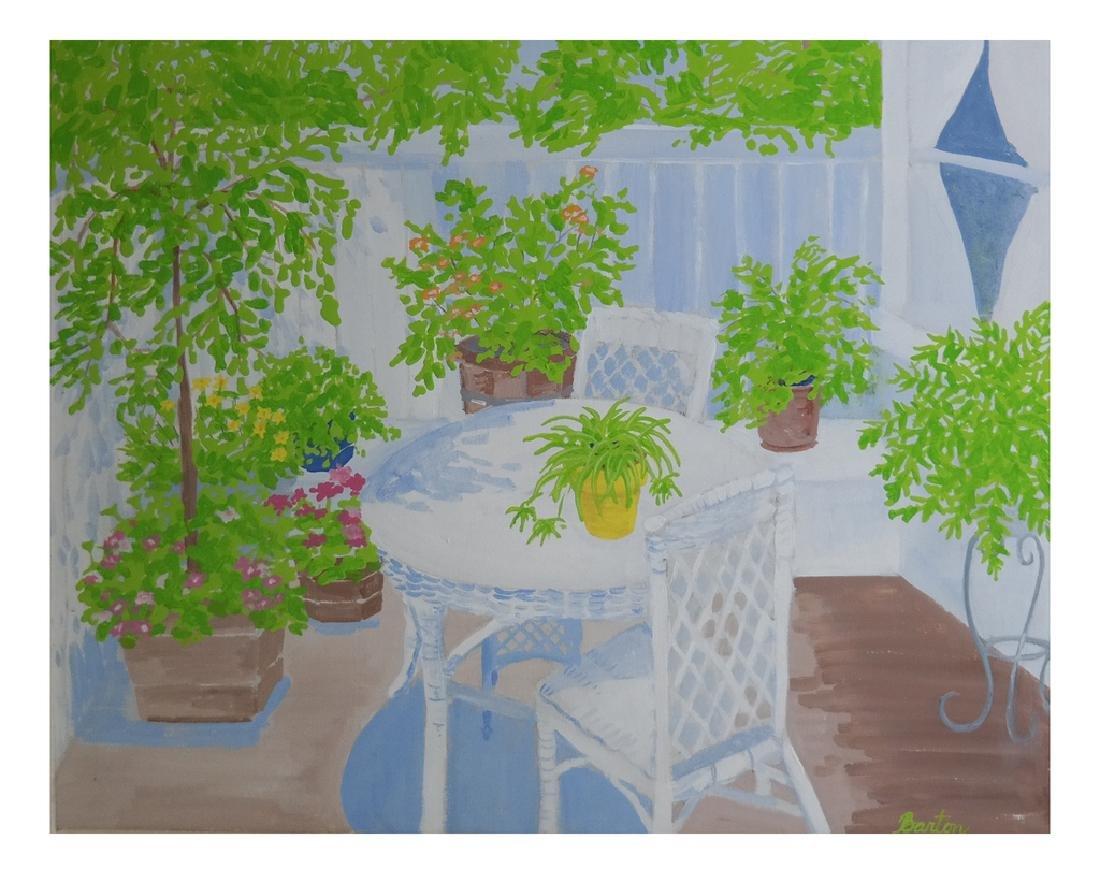 Barton, Veranda Porch Scene - Oil on Canvas