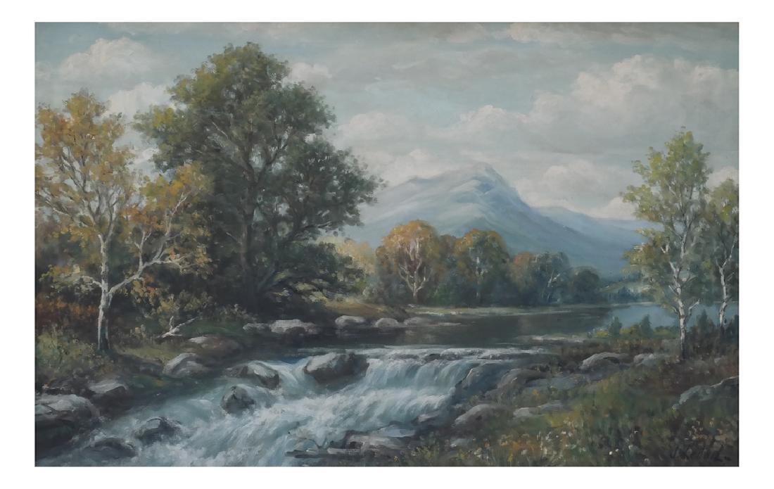 Mountain Landscape, Oil on Canvas