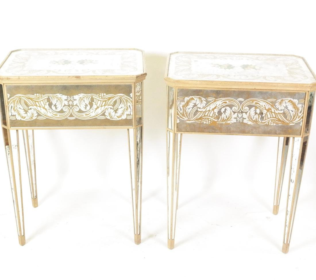 Pair 1940s Mirrored and Painted End Tables