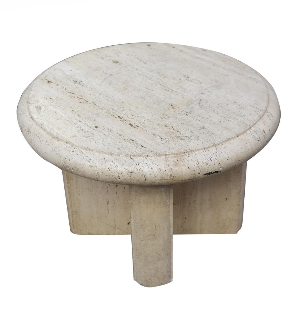 Travertine Circular Low Table