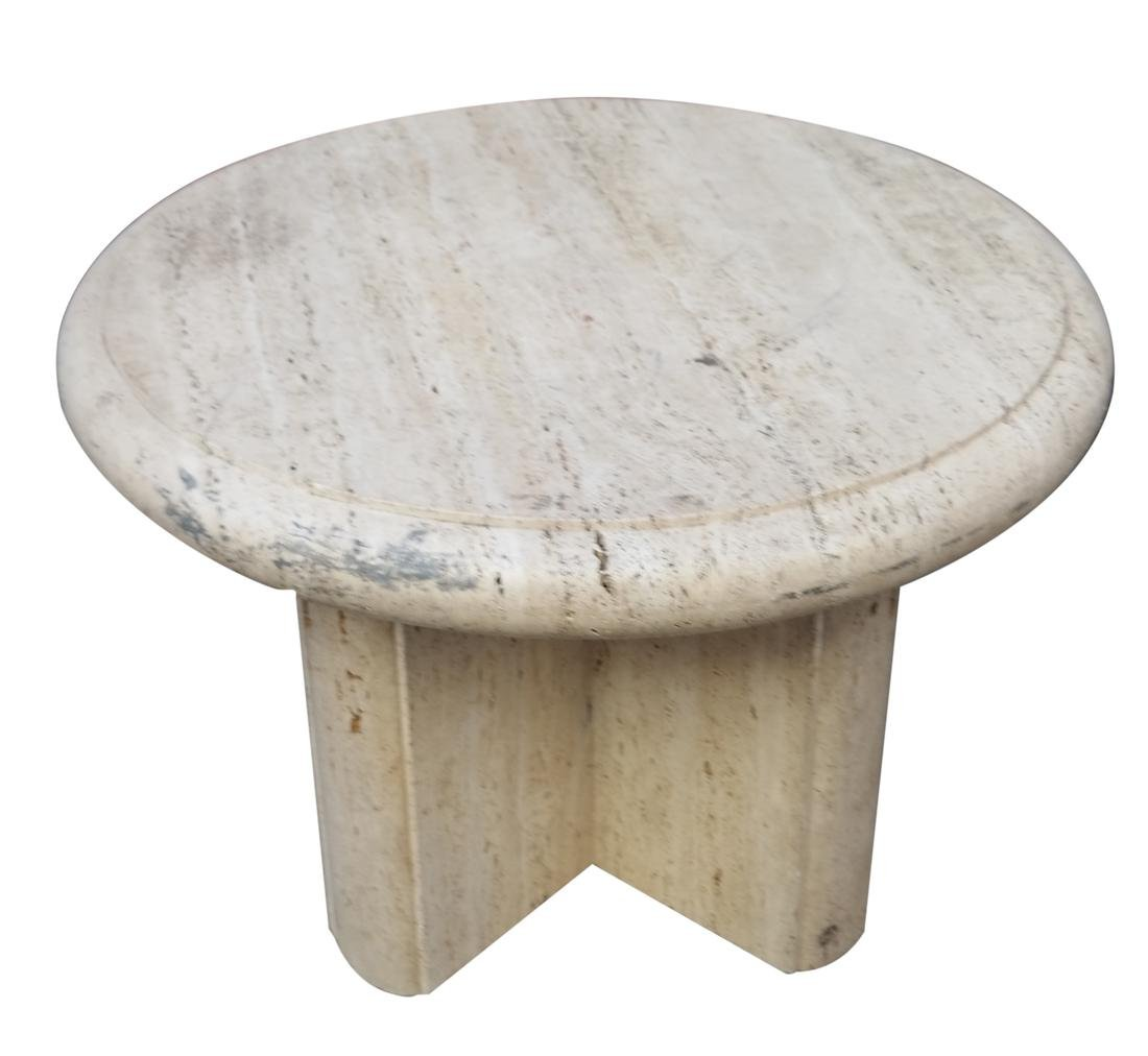 Modern Travertine Circular Table