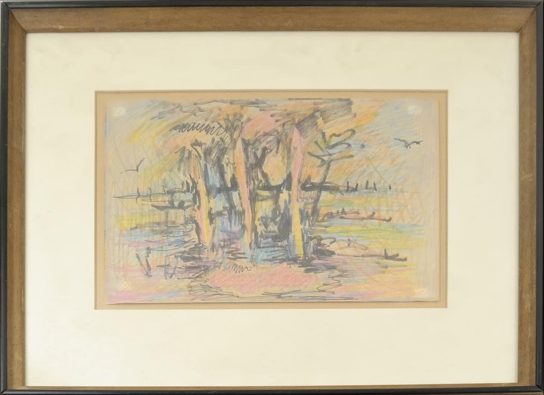 Framed Abstract Watercolor and Pastel - 2