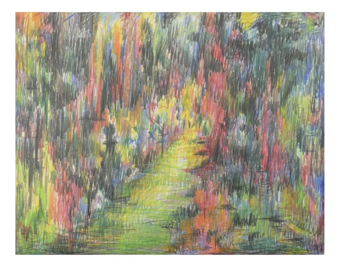 Abstract Landscape - Crayon and Ink