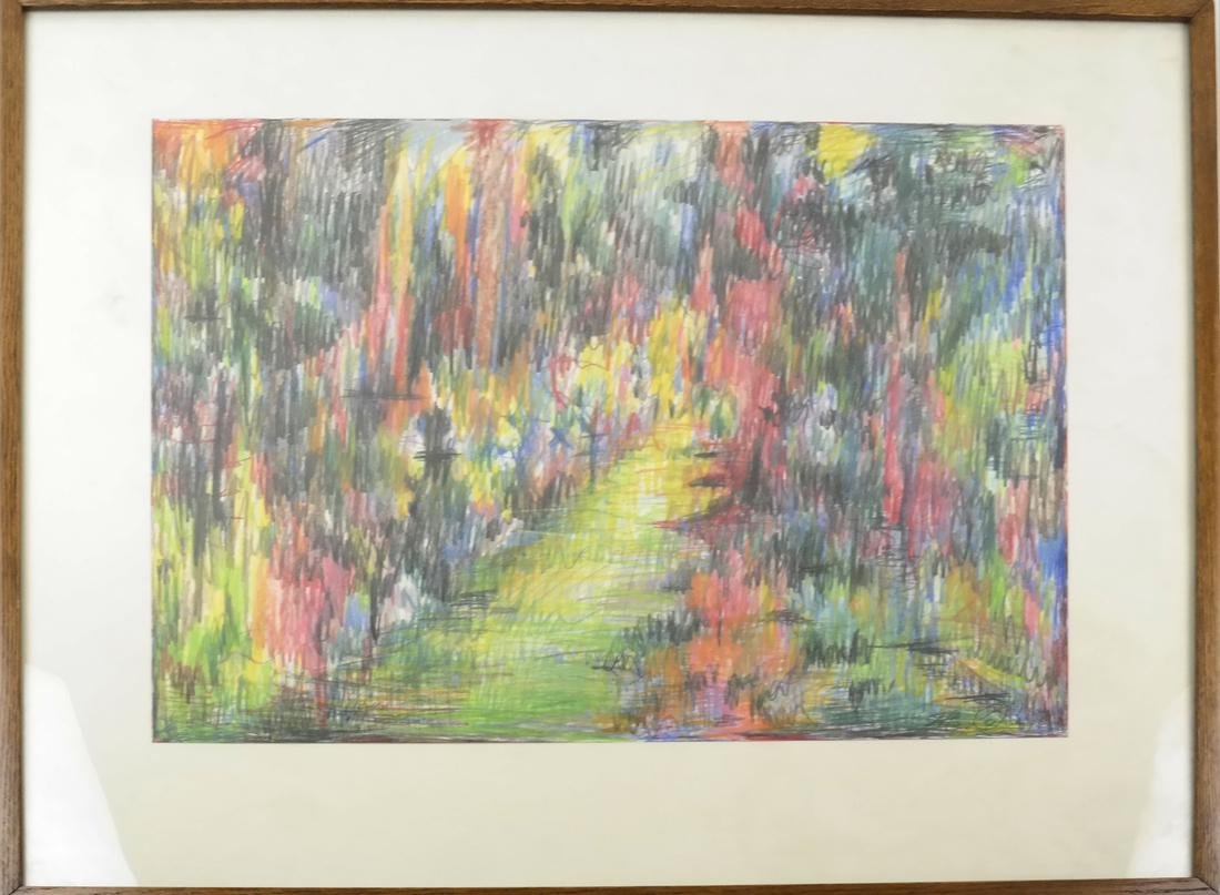 Abstract Landscape - Crayon and Ink - 2