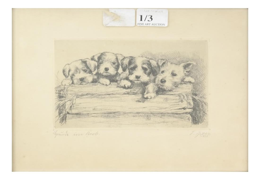 """F. Biber """"Four Dogs On A Log"""" Etching"""