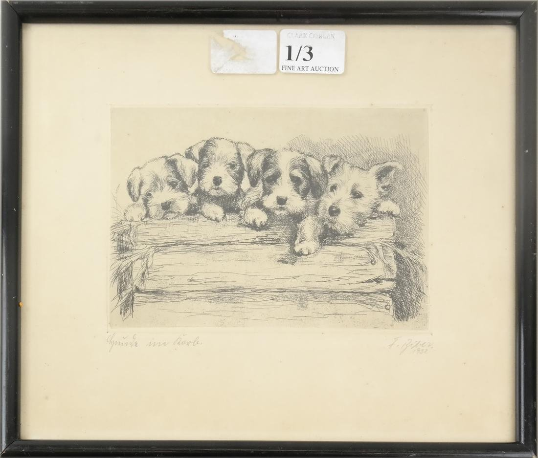 """F. Biber """"Four Dogs On A Log"""" Etching - 2"""