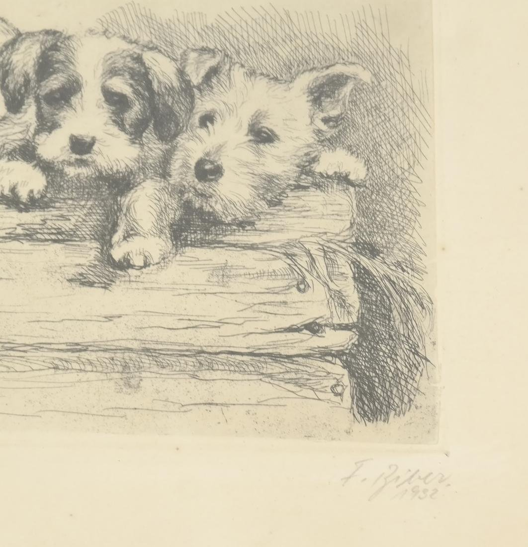 """F. Biber """"Four Dogs On A Log"""" Etching - 3"""