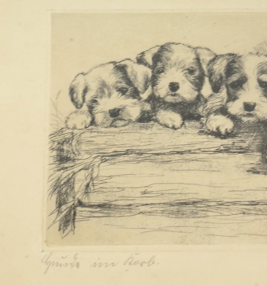 """F. Biber """"Four Dogs On A Log"""" Etching - 4"""