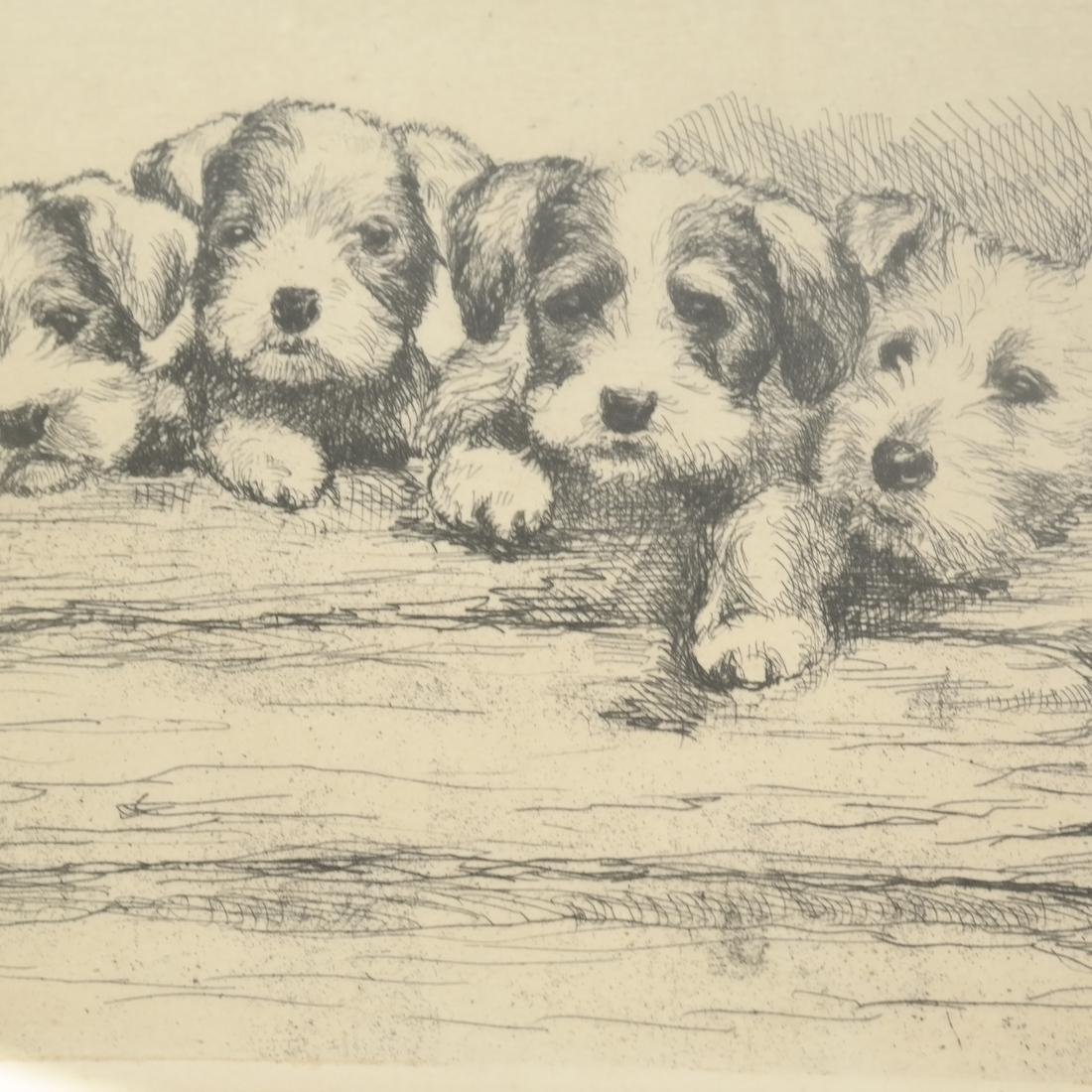 """F. Biber """"Four Dogs On A Log"""" Etching - 5"""
