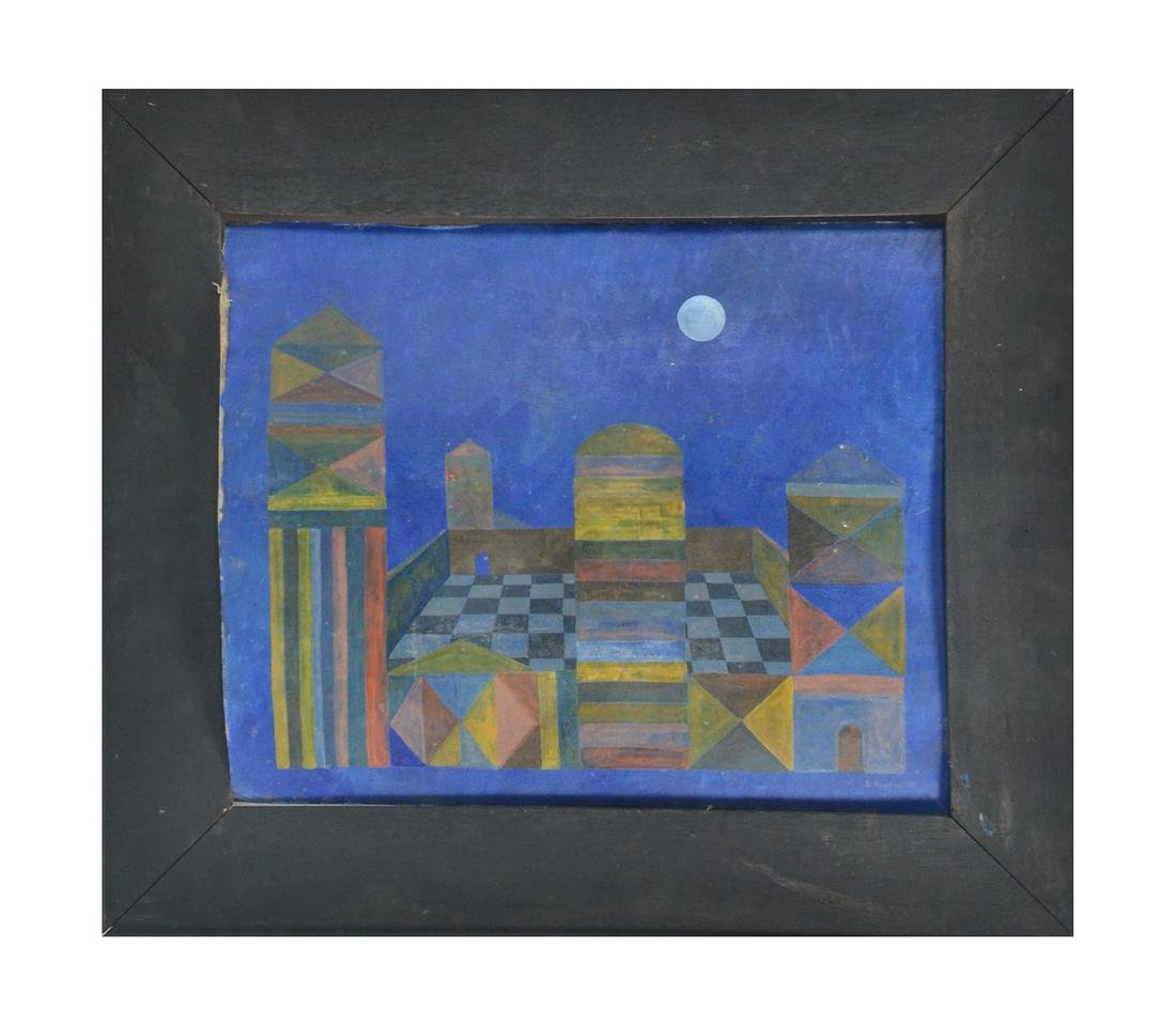 E. Rustia, '60s Geometric, Oil on Canvas