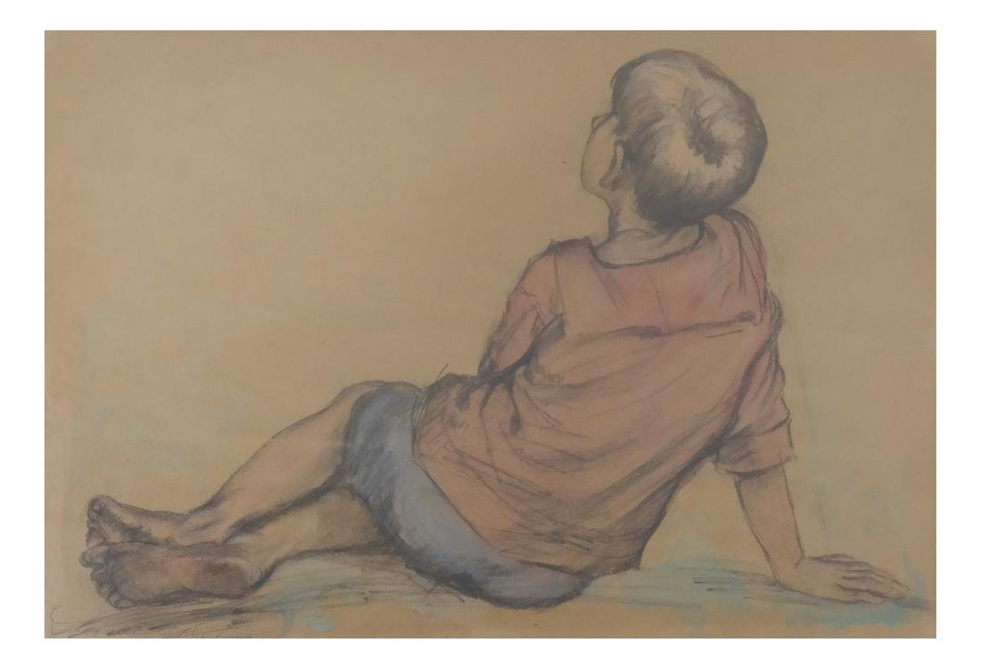 "Lionel Reiss ""Reclining Boy"" Drawing"