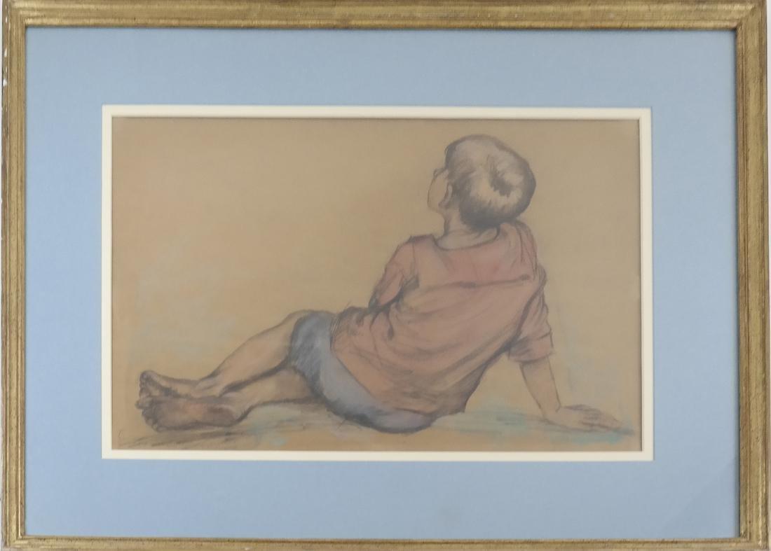 "Lionel Reiss ""Reclining Boy"" Drawing - 2"
